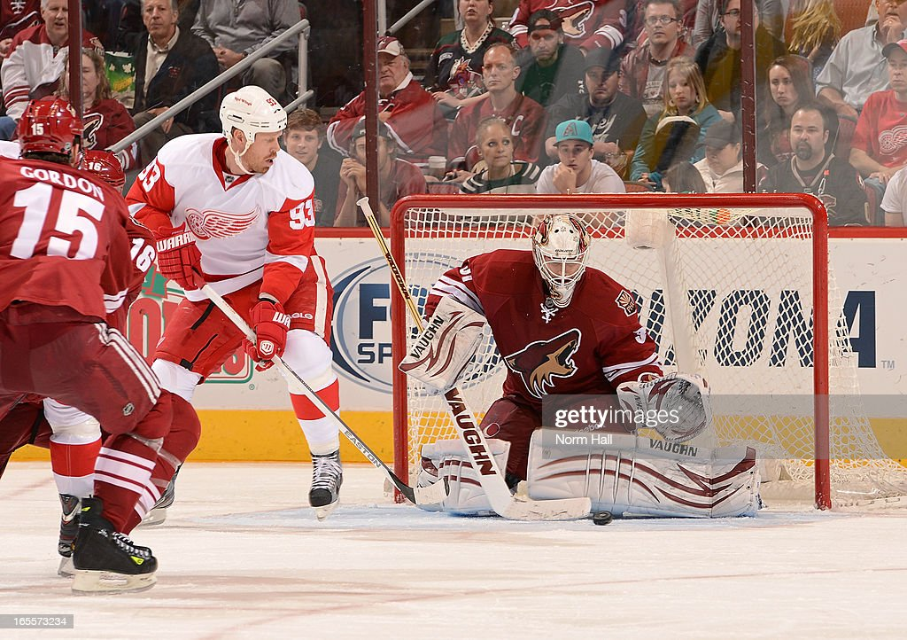 Goaltender Chad Johnson #31 of the Phoenix Coyotes makes a save in front of <a gi-track='captionPersonalityLinkClicked' href=/galleries/search?phrase=Johan+Franzen&family=editorial&specificpeople=624356 ng-click='$event.stopPropagation()'>Johan Franzen</a> #93 of the Detroit Red Wings during the third period at Jobing.com Arena on April 4, 2013 in Glendale, Arizona.