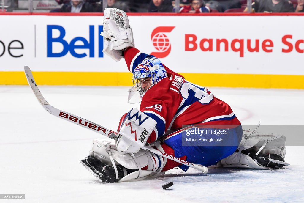 Goaltender Charlie Lindgren #39 of the Montreal Canadiens saves the puck late in the third period against the Vegas Golden Knights during the NHL game at the Bell Centre on November 7, 2017 in Montreal, Quebec, Canada. The Montreal Canadiens defeated the Vegas Golden Knights 3-2.