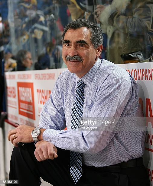 Goaltender coach Jim Corsi of the Buffalo Sabres watches warmups before playing the Boston Bruins on October 21 2008 at HSBC Arena in Buffalo New York