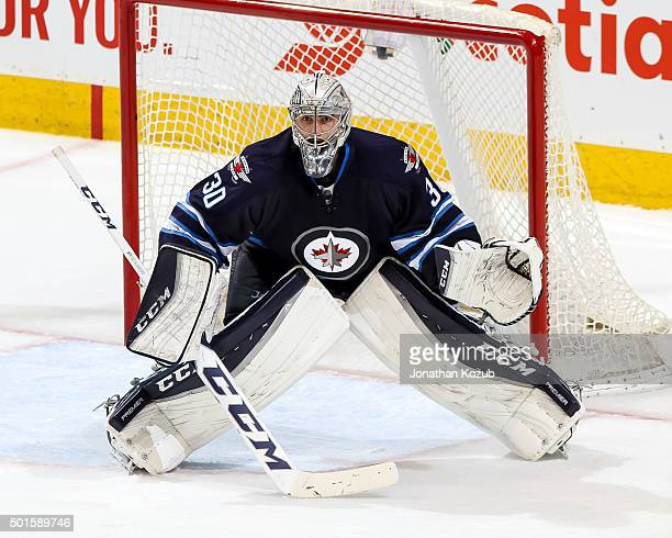 Goaltender Connor Hellebuyck of the Winnipeg Jets guards the net during third period action against the Columbus Blue Jackets at the MTS Centre on...
