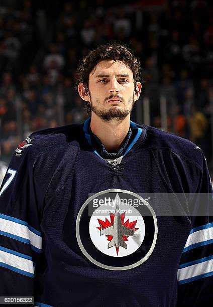 Goaltender Connor Hellebuyck of the Winnipeg Jets looks on prior to puck drop against the Washington Capitals at the MTS Centre on November 1 2016 in...