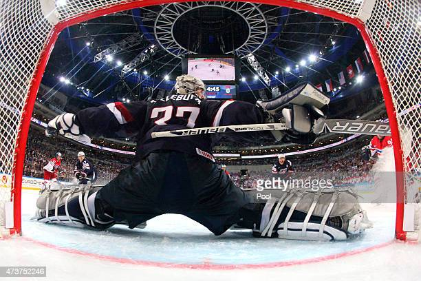 Goaltender Connor Hellebuyck of USA makes a save during the 2015 IIHF Ice Hockey World Championship bronze medal game between Czech Republic and USA...