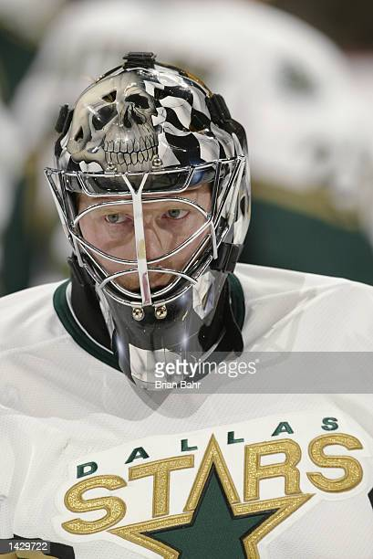 Goaltender Corey Hirsch of the Dallas Stars looks on during warmups prior to the preseason game against the Colorado Avalanche on September 19 2002...