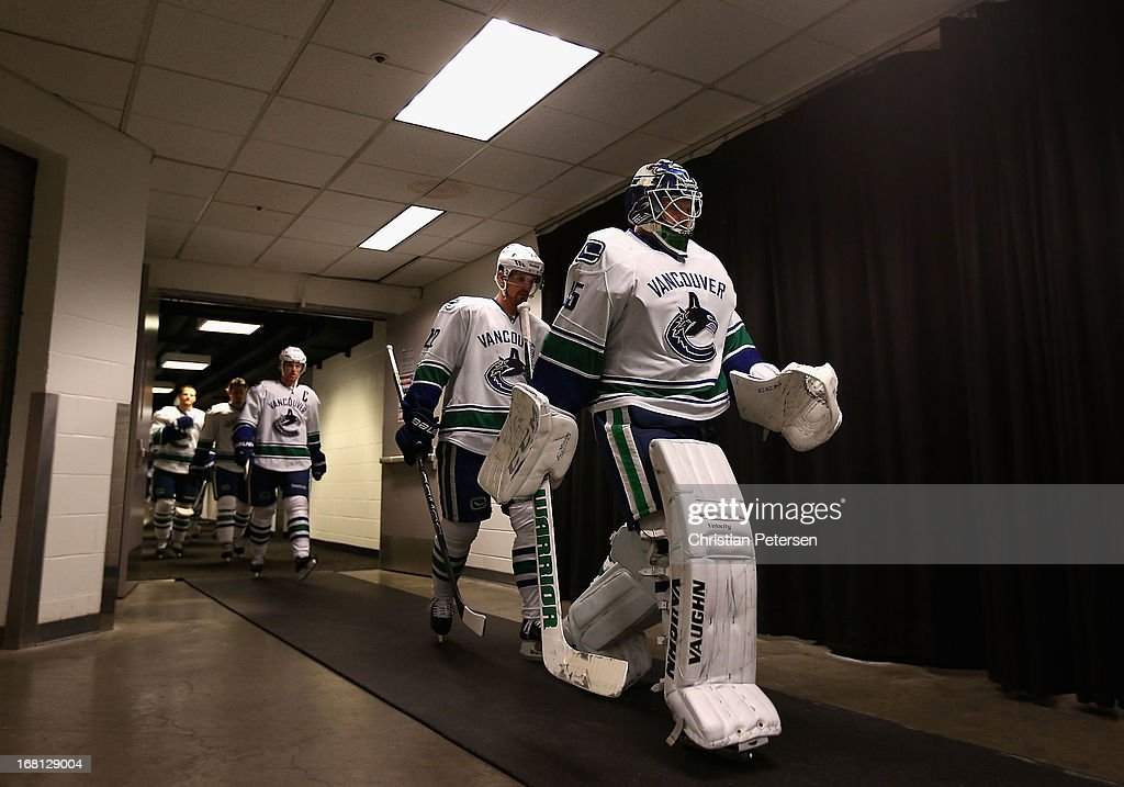 Goaltender Cory Schneider #35 of the Vancouver Canucks leads teammates out onto the ice before Game Three of the Western Conference Quarterfinals against the San Jose Sharks during the 2013 NHL Stanley Cup Playoffs at HP Pavilion on May 5, 2013 in San Jose, California.