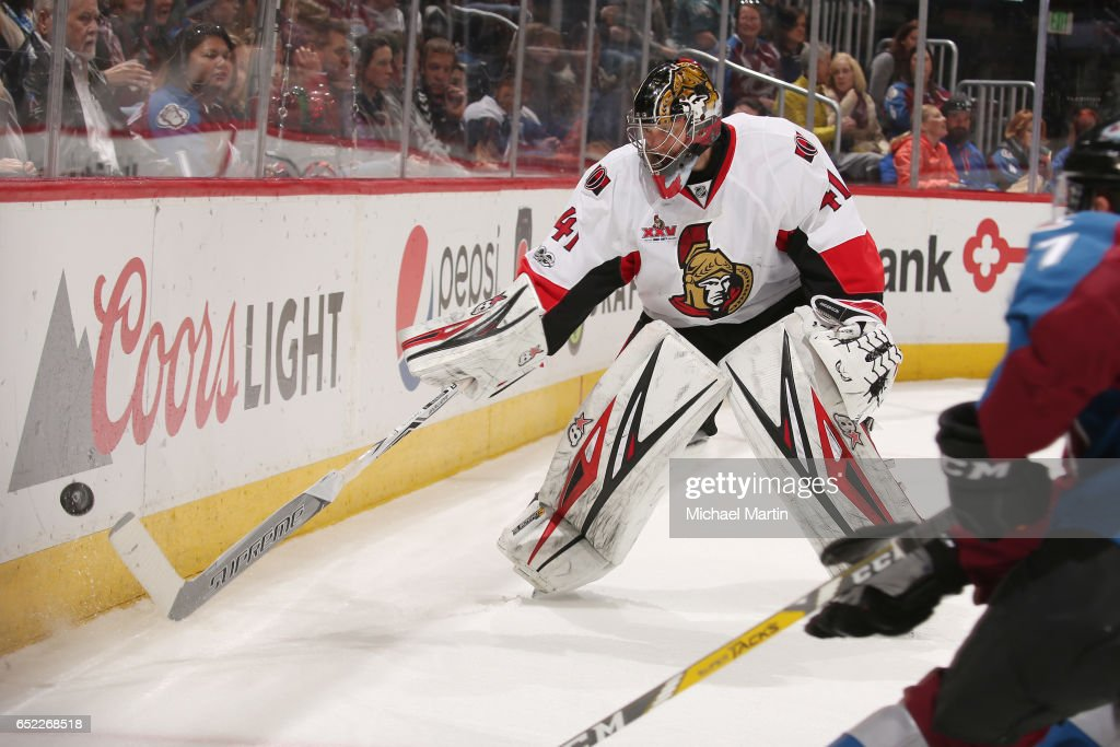 Goaltender Craig Anderson #41 of the Ottawa Senators clears the puck against the Colorado Avalanche at the Pepsi Center on March 11, 2017 in Denver, Colorado. The Senators defeated the Avalanche 4-2.