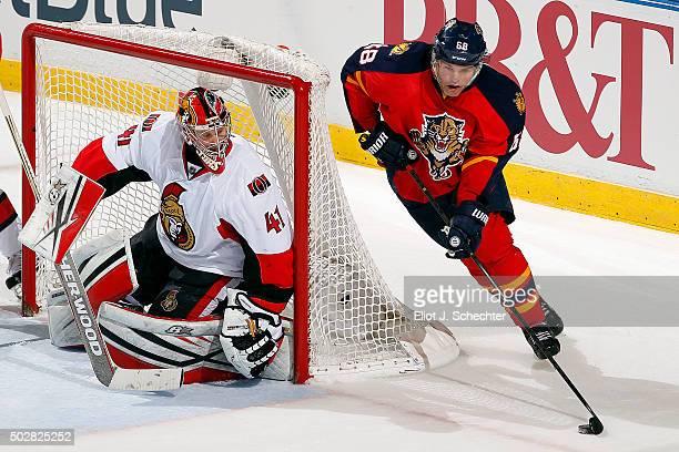 Goaltender Craig Anderson of the Ottawa Senators defends the net against Jaromir Jagr of the Florida Panthers at the BBT Center on December 22 2015...