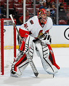 Goaltender Craig Anderson of the Ottawa Senators defends the net against the Florida Panthers at the BBT Center on October 13 2014 in Sunrise Florida