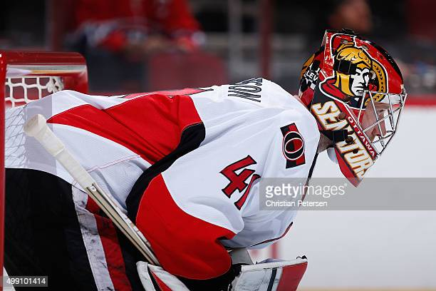 Goaltender Craig Anderson of the Ottawa Senators looks down ice during the first period of the NHL game against the Arizona Coyotes at Gila River...