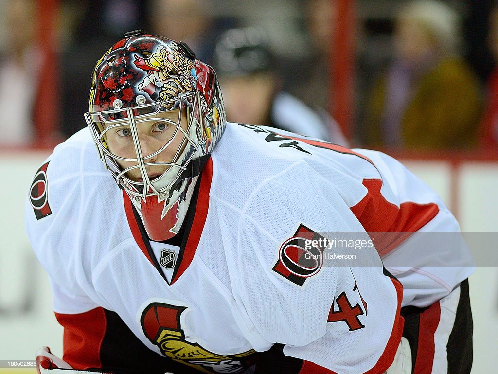 Goaltender <a gi-track='captionPersonalityLinkClicked' href=/galleries/search?phrase=Craig+Anderson&family=editorial&specificpeople=211238 ng-click='$event.stopPropagation()'>Craig Anderson</a> #41 of the Ottowa Senators watches the puck during a loss to the Carolina Hurricanes at PNC Arena on February 1, 2013 in Raleigh, North Carolina. The Hurricanes defeated the Senators 1-0.