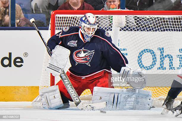 Goaltender Curtis McElhinney of the Columbus Blue Jackets defends the net against the Washington Capitals on January 27 2015 at Nationwide Arena in...