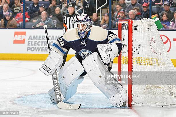 Goaltender Curtis McElhinney of the Columbus Blue Jackets defends the net against the Los Angeles Kings on February 9 2015 at Nationwide Arena in...