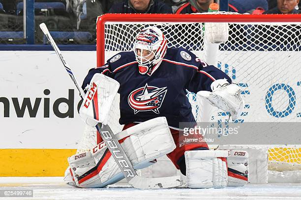Goaltender Curtis McElhinney of the Columbus Blue Jackets defends the net against the Colorado Avalanche on November 21 2016 at Nationwide Arena in...