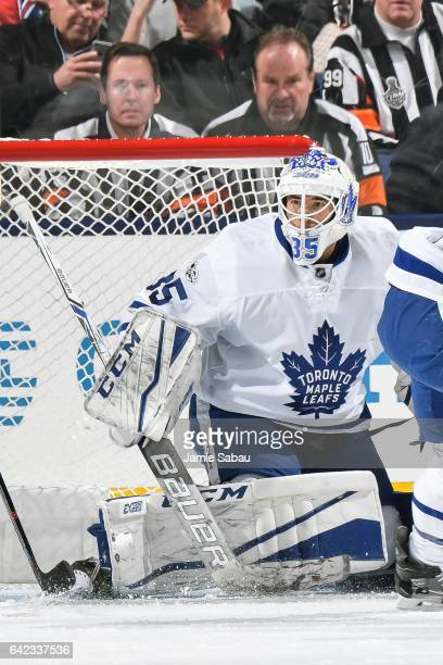 Goaltender Curtis McElhinney of the Toronto Maple Leafs defends the net against the Columbus Blue Jackets on February 15 2017 at Nationwide Arena in...