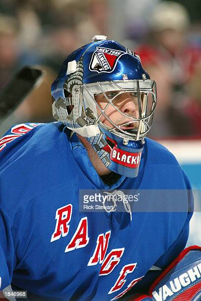 Goaltender Dan Blackburn of the New York Rangers looks on against the Buffalo Sabres during the NHL game on February 15 2003 at HSBC Arena in Buffalo...