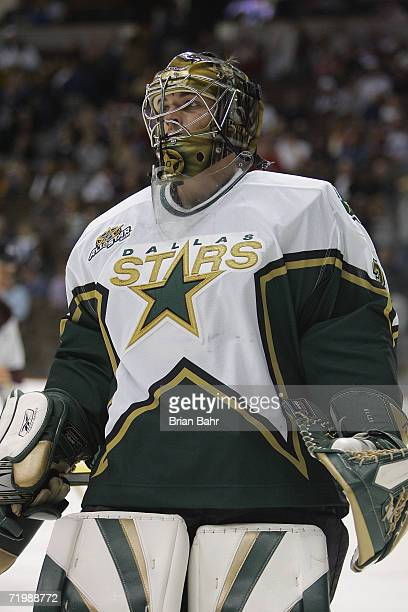 Goaltender Dan Ellis of the Dallas Stars looks on during a break in preseason game action against the Colorado Avalanche on September 19 2006 at the...