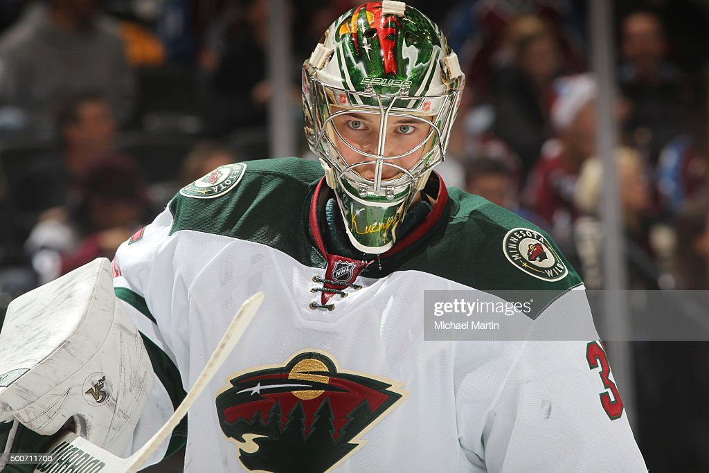 Goaltender Darcy Kuemper of the Minnesota Wild looks on during a break in the action against the Colorado Avalanche at the Pepsi Center on December 7...