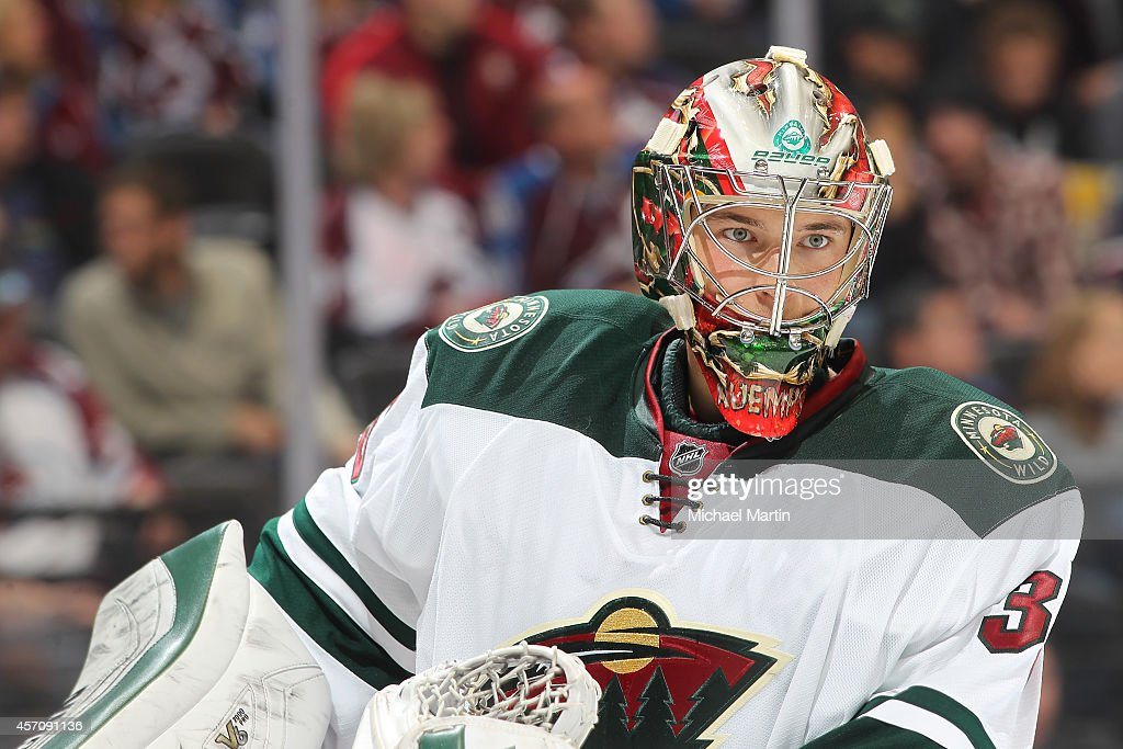 Goaltender Darcy Kuemper of the Minnesota Wild pauses during his shut out victory against the Colorado Avalanche at the Pepsi Center on October 11...
