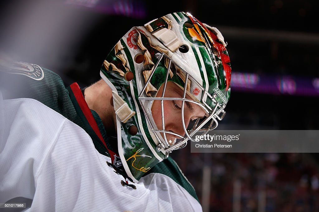 Goaltender Darcy Kuemper of the Minnesota Wild skates during a break from the first period of the NHL game against the Arizona Coyotes at Gila River...