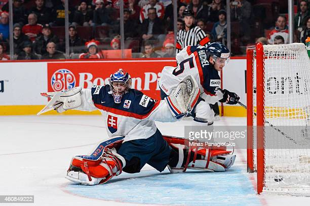 Goaltender David Okolicany of Team Slovakia looks back as the puck crosses the goal line and into his net during the 2015 IIHF World Junior Hockey...