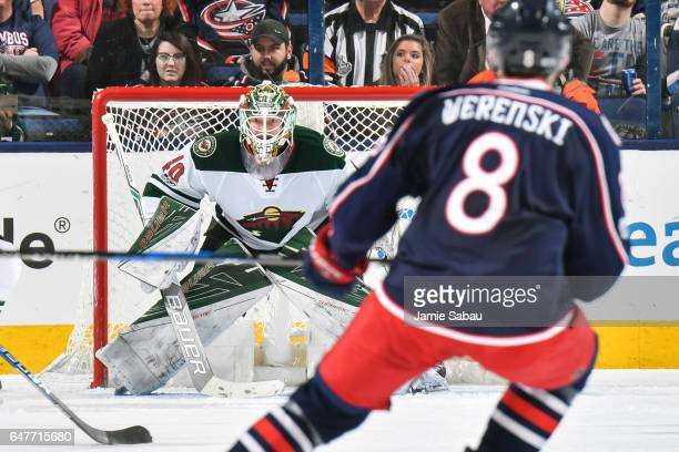 Goaltender Devan Dubnyk of the Minnesota Wild defends the net against the Columbus Blue Jackets on March 2 2017 at Nationwide Arena in Columbus Ohio