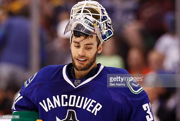 Goaltender Eddie Lack of the Vancouver Canucks is pictured during a break in play while facing the Calgary Flames during Game Two of the Western...