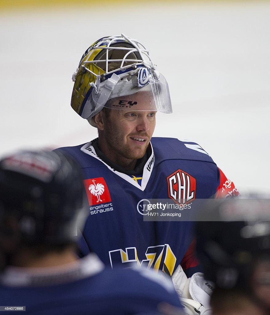 Goaltender Erik Ersberg #40 of HV71 is seen during the Champions ...