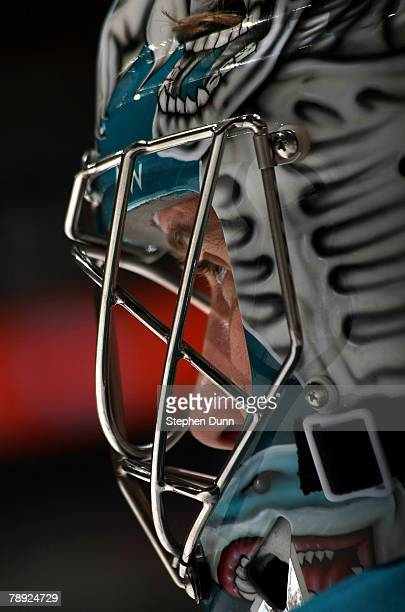 Goaltender Evgeni Nabokov of the San Jose Sharks looks on during warmups for the game with the Anaheim Ducks at the Honda Center January 13 2008 in...