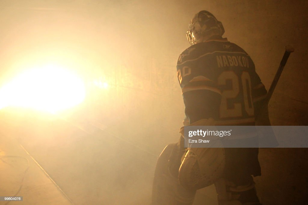 Goaltender <a gi-track='captionPersonalityLinkClicked' href=/galleries/search?phrase=Evgeni+Nabokov&family=editorial&specificpeople=171380 ng-click='$event.stopPropagation()'>Evgeni Nabokov</a>of #20 the San Jose Sharks steps onto the ice before taking on the Chicago Blackhawks in Game One of the Western Conference Finals during the 2010 NHL Stanley Cup Playoffs at HP Pavilion on May 16, 2010 in San Jose, California.
