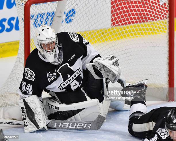 Goaltender Francis Leclerc of the BlainvilleBoisbriand Armada protects his net against the RouynNoranda Huskies during the QMJHL game at Centre...