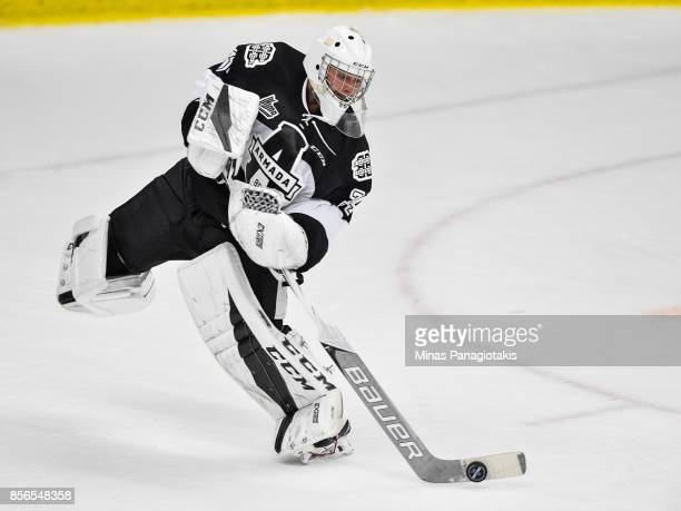 Goaltender Francis Leclerc of the BlainvilleBoisbriand Armada plays the puck away from his net against the RouynNoranda Huskies during the QMJHL game...