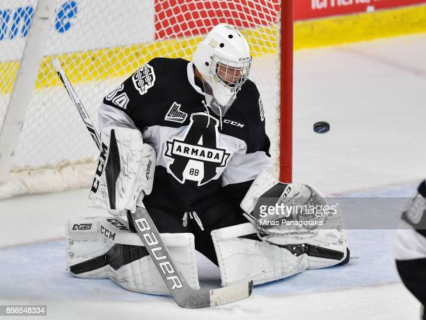 Goaltender Francis Leclerc of the BlainvilleBoisbriand Armada watches the puck against the RouynNoranda Huskies during the QMJHL game at Centre...