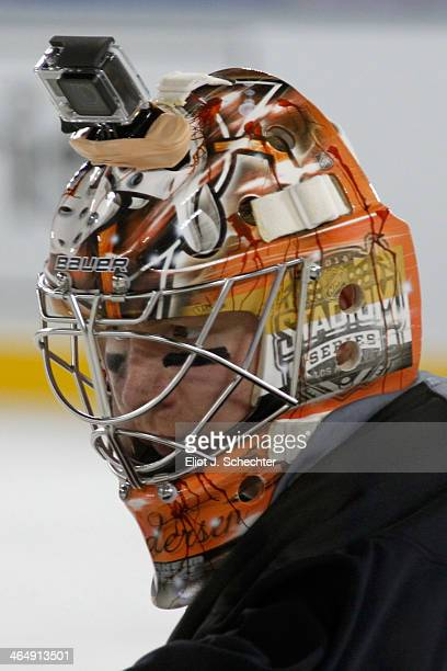 Goaltender Frederik Andersen of the Anaheim Ducks attends team practice in preparation for the 2014 Coors Light NHL Stadium Series against Los...