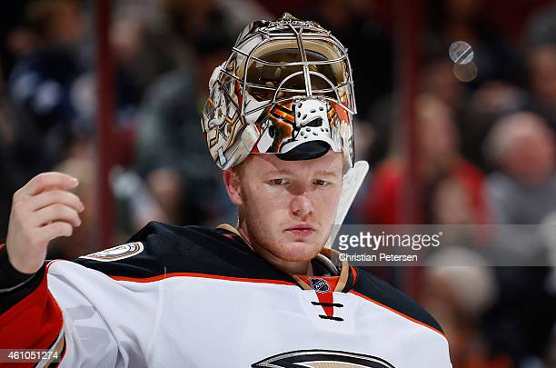 Goaltender Frederik Andersen of the Anaheim Ducks during the NHL game against the Arizona Coyotes at Gila River Arena on December 27 2014 in Glendale...