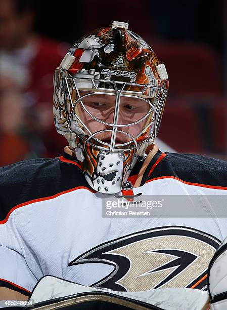 Goaltender Frederik Andersen of the Anaheim Ducks during the NHL game against the Arizona Coyotes at Gila River Arena on March 3 2015 in Glendale...