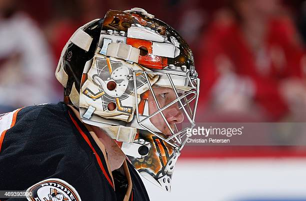 Goaltender Frederik Andersen of the Anaheim Ducks looks down ice during the first period of the NHL game against the Arizona Coyotes at Gila River...