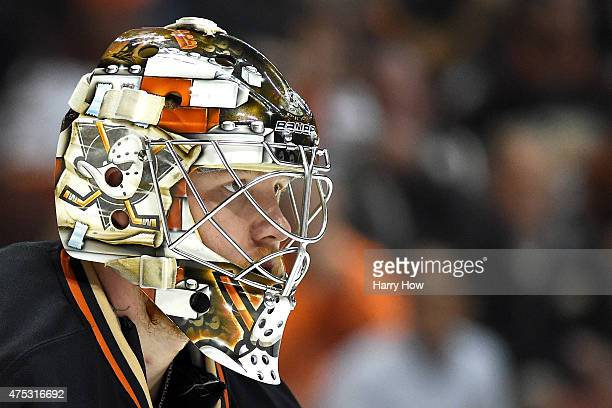 Goaltender Frederik Andersen of the Anaheim Ducks looks on from in net in the second period while taking on the Chicago Blackhawks in Game Seven of...