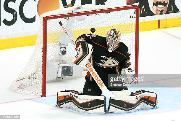 Goaltender Frederik Andersen of the Anaheim Ducks makes a save in the third period against the Chicago Blackhawks in Game Seven of the Western...
