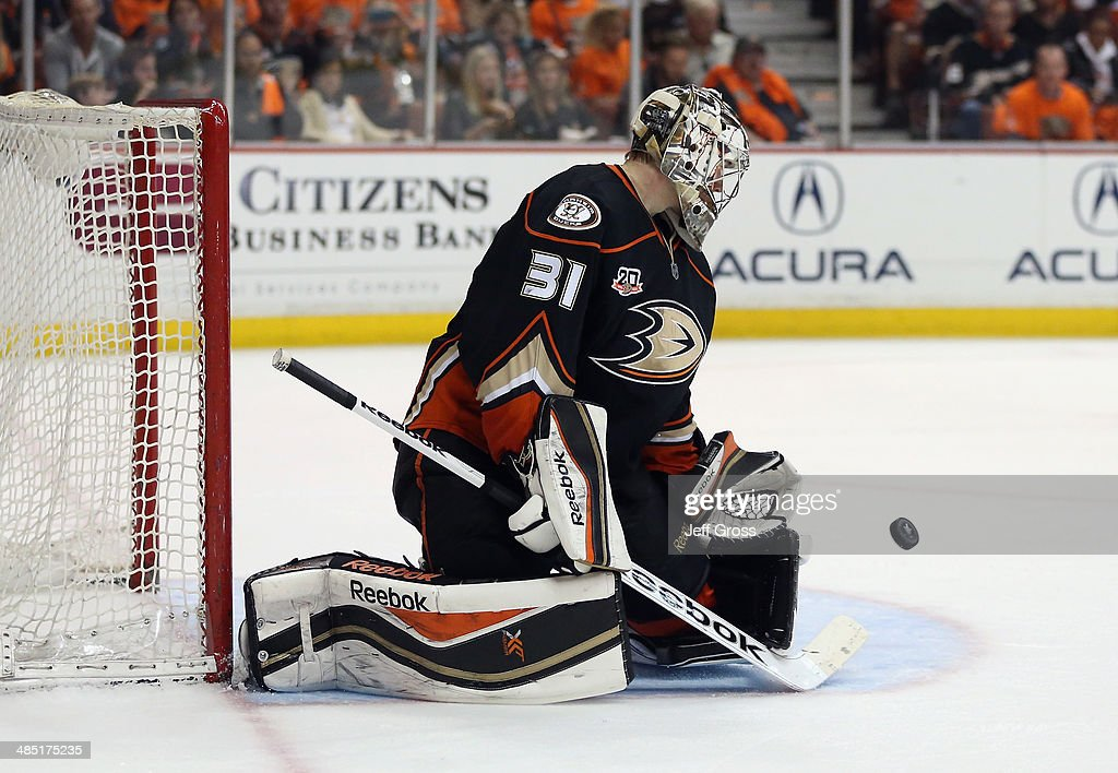 Goaltender <a gi-track='captionPersonalityLinkClicked' href=/galleries/search?phrase=Frederik+Andersen&family=editorial&specificpeople=6605243 ng-click='$event.stopPropagation()'>Frederik Andersen</a> #31 of the Anaheim Ducks makes a save against the Dallas Stars in the second period of Game One of the First Round of the 2014 NHL Stanley Cup Playoffs at Honda Center on April 16, 2014 in Anaheim, California. The Ducks defeated the Stars 4-3.