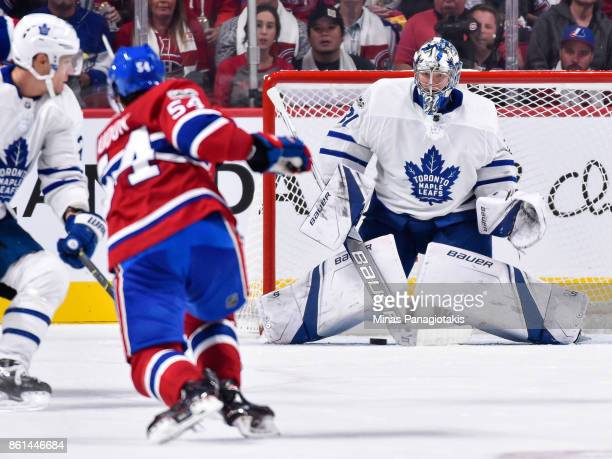 Goaltender Frederik Andersen of the Toronto Maple Leafs prepares to make a save on a shot by Charles Hudon of the Montreal Canadiens during the NHL...
