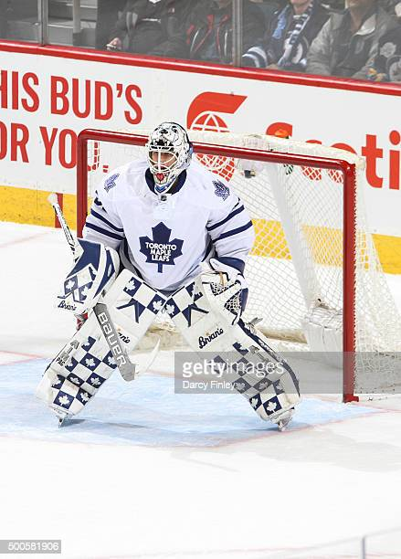 Goaltender Garret Sparks of the Toronto Maple Leafs guards the net during second period action against the Winnipeg Jets at the MTS Centre on...