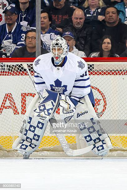 Goaltender Garret Sparks of the Toronto Maple Leafs keeps an eye on the play during first period action against the Winnipeg Jets at the MTS Centre...
