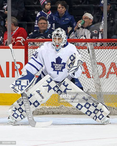 Goaltender Garret Sparks of the Toronto Maple Leafs takes part in the pregame warm up prior to NHL action against the Winnipeg Jets at the MTS Centre...
