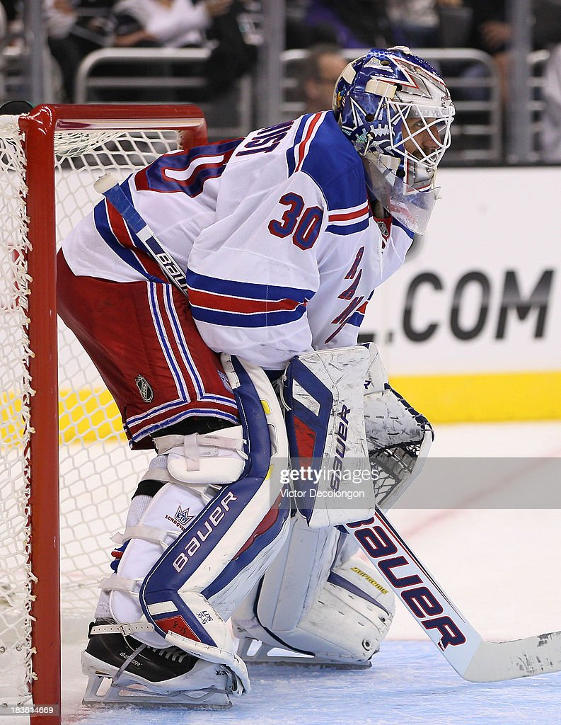 Goaltender <a gi-track='captionPersonalityLinkClicked' href=/galleries/search?phrase=Henrik+Lundqvist&family=editorial&specificpeople=217958 ng-click='$event.stopPropagation()'>Henrik Lundqvist</a> #30 of the New York Rangers gets in postion in his crease in the second period during the NHL game against the Los Angeles Kings at Staples Center on October 7, 2013 in Los Angeles, California. The Rangers defeated the Kings 3-1.