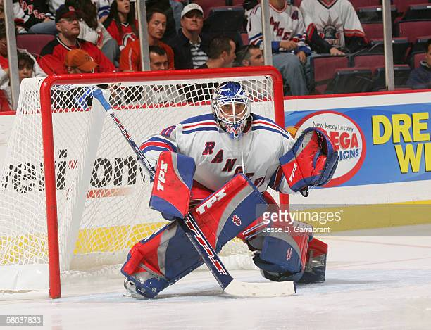 Goaltender Henrik Lundqvist of the New York Rangers guards the goal during the game against the New Jersey Devils on October 8 2005 at the...
