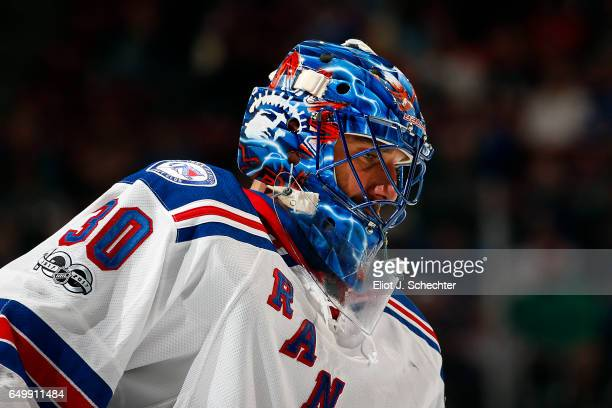 Goaltender Henrik Lundqvist of the New York Rangers heads back to the net after a break in the action against the Florida Panthers at the BBT Center...