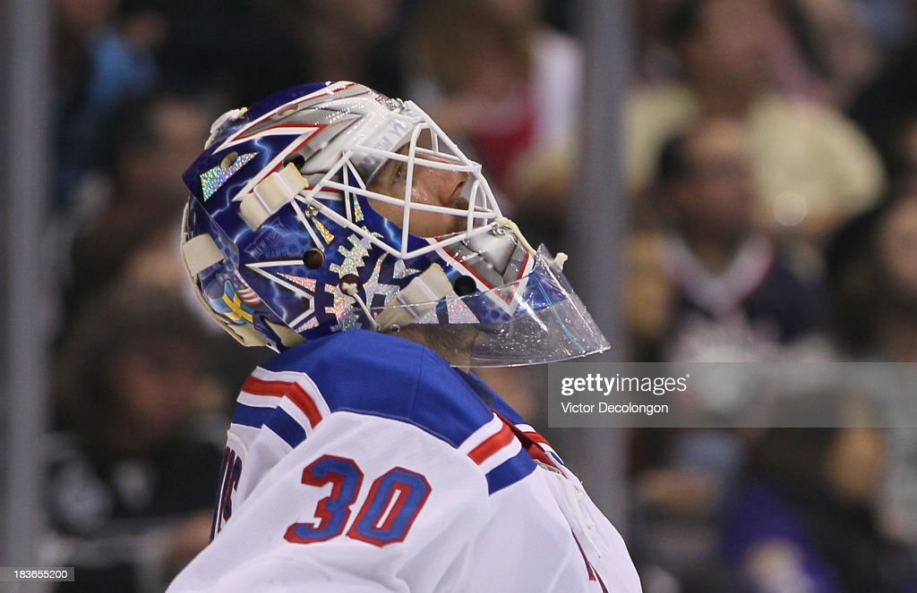 Goaltender <a gi-track='captionPersonalityLinkClicked' href=/galleries/search?phrase=Henrik+Lundqvist&family=editorial&specificpeople=217958 ng-click='$event.stopPropagation()'>Henrik Lundqvist</a> #30 of the New York Rangers looks up at the scoreboard during the NHL game against the Los Angeles Kings at Staples Center on October 7, 2013 in Los Angeles, California. The Rangers defeated the Kings 3-1.