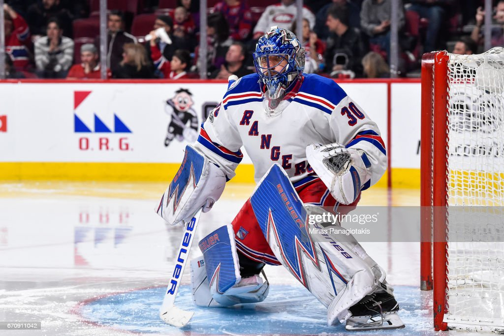 Goaltender Henrik Lundqvist #30 of the New York Rangers protects his net against the Montreal Canadiens in Game Five of the Eastern Conference First Round during the 2017 NHL Stanley Cup Playoffs at the Bell Centre on April 20, 2017 in Montreal, Quebec, Canada. The New York Rangers defeated the Montreal Canadiens 3-2 in overtime.