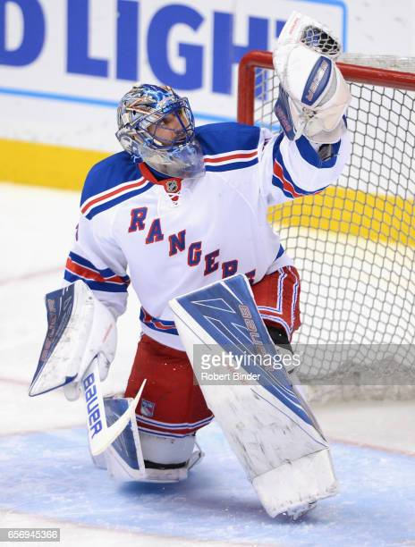 Goaltender Henrik Lundqvist of the New York Rangers warms up before the game against the Anaheim Ducks at Honda Center on March 16 2016 in Anaheim...