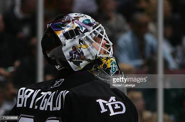 Goaltender Ilya Bryzgalov of the Mighty Ducks of Anaheim looks up at the monitor during a break in game action against the Edmonton Oilers in the...