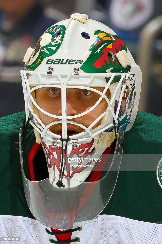 Goaltender Ilya Bryzgalov #30 of the Minnesota Wild looks on during third period action against the Winnipeg Jets at the MTS Centre on April 7, 2014 in Winnipeg, Manitoba, Canada. The Wild defeated the Jets 1-0.